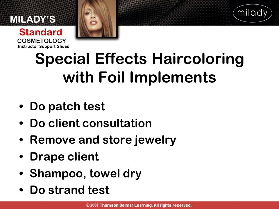 Special Effects Haircoloring with Foil Implements