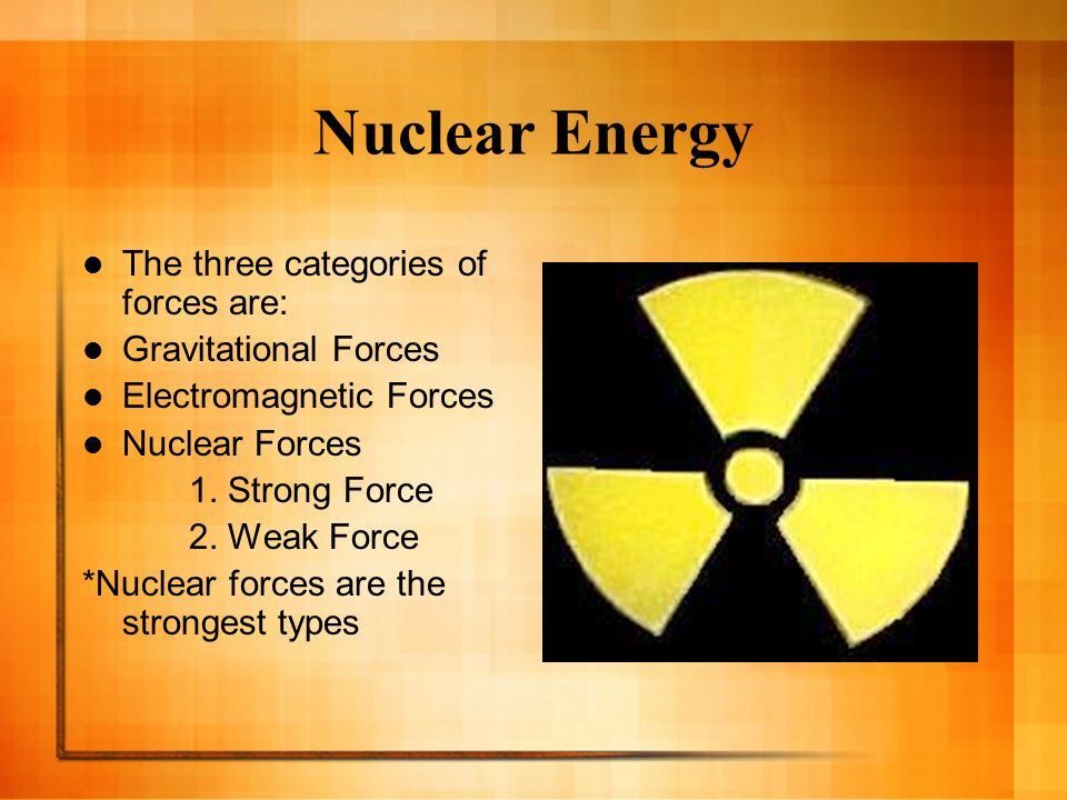 Nuclear Energy The three categories of forces are: