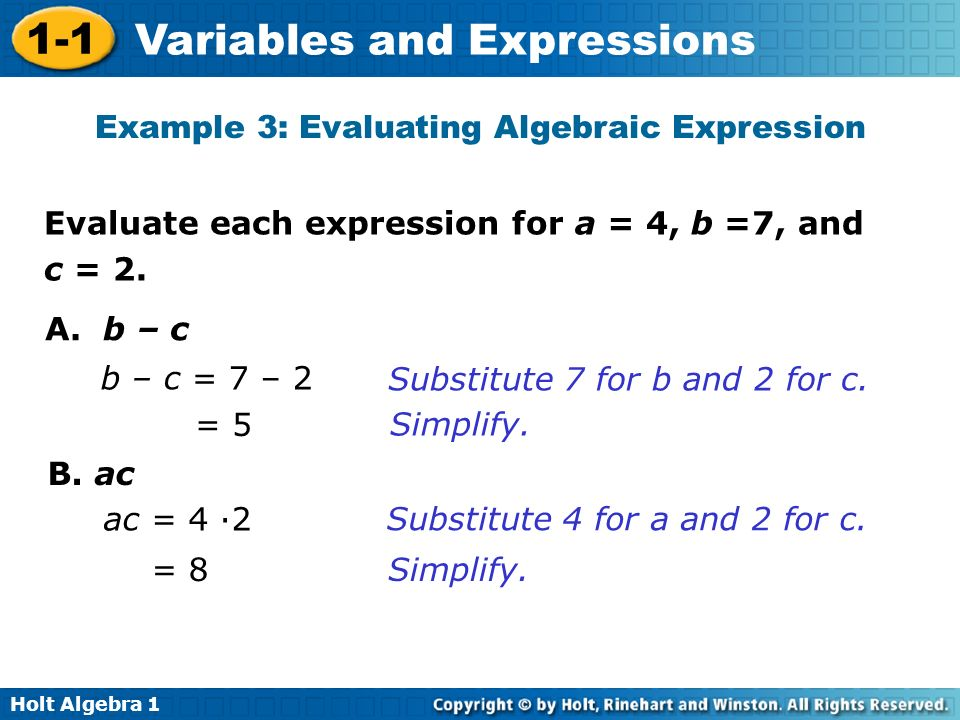 Example 3: Evaluating Algebraic Expression
