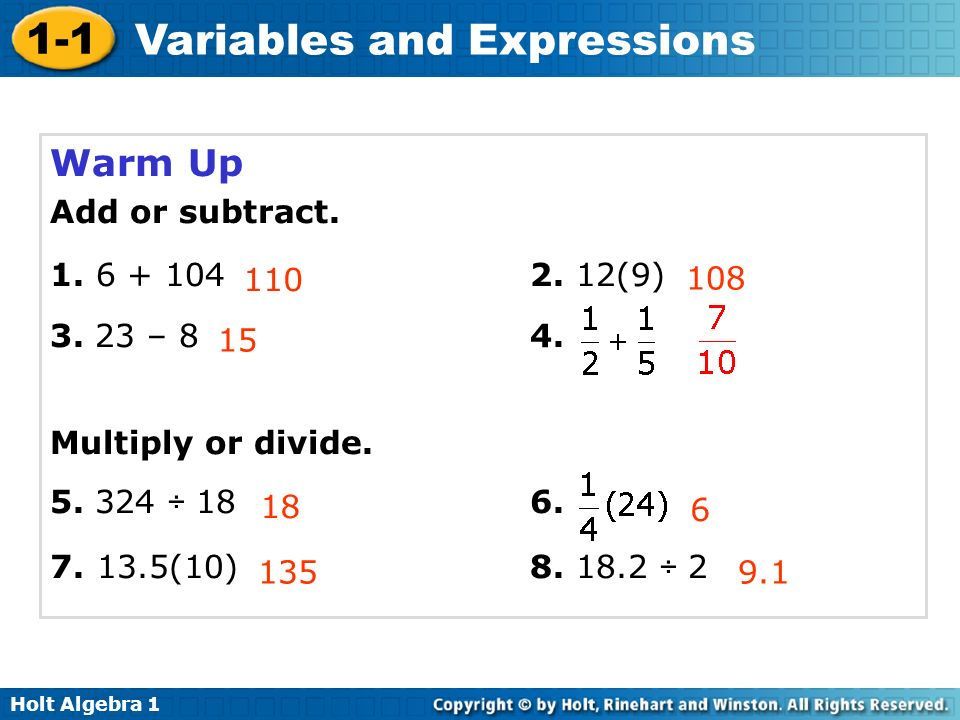 Warm Up Add or subtract (9) – 8 4.