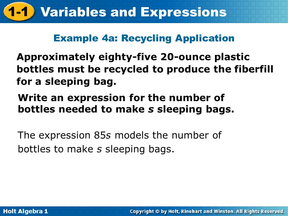 Example 4a: Recycling Application