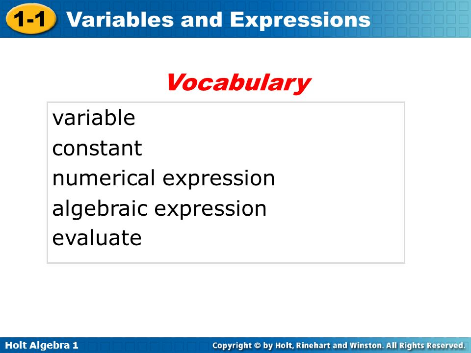 Vocabulary variable constant numerical expression algebraic expression