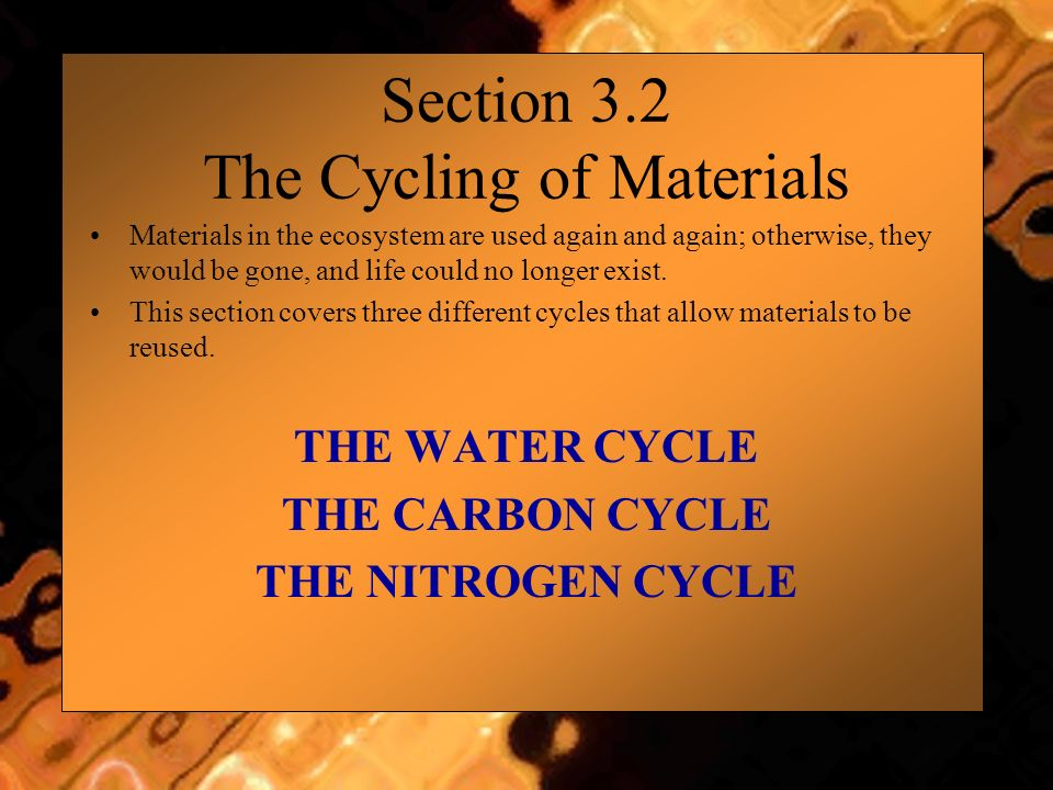 Section 3.2 The Cycling of Materials