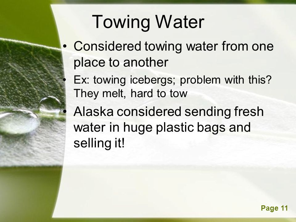 Towing Water Considered towing water from one place to another