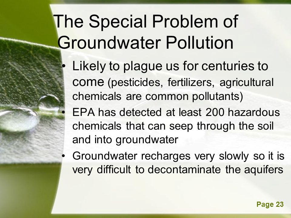The Special Problem of Groundwater Pollution