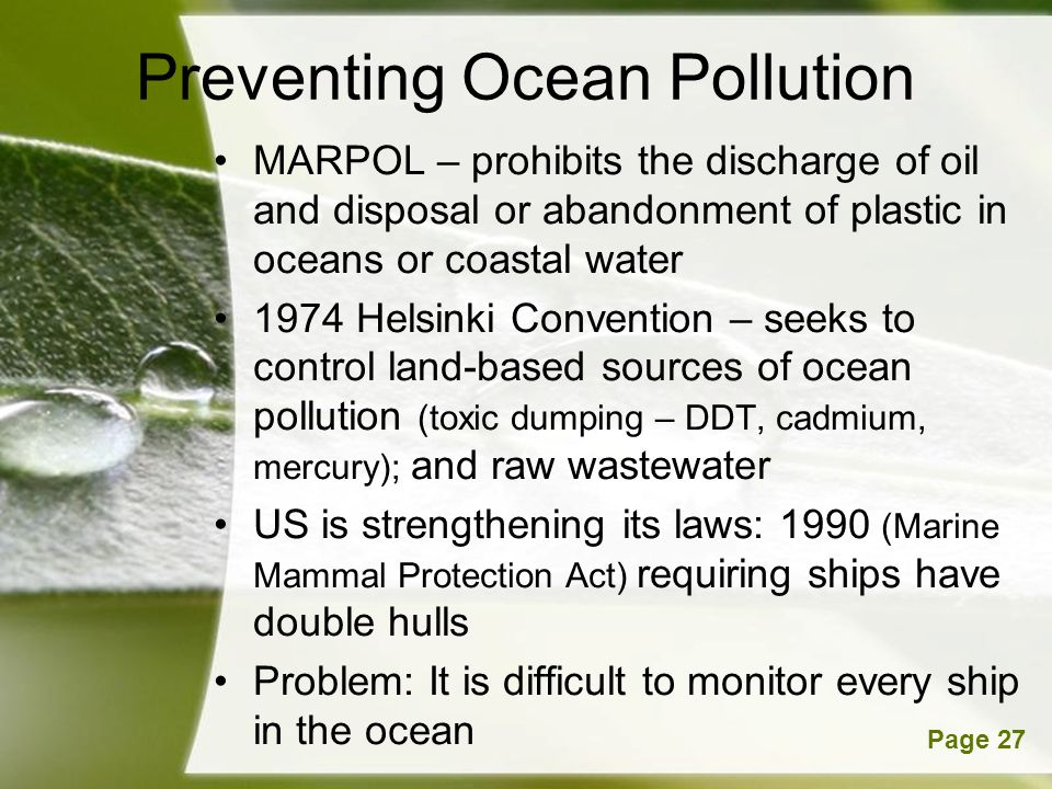 Preventing Ocean Pollution