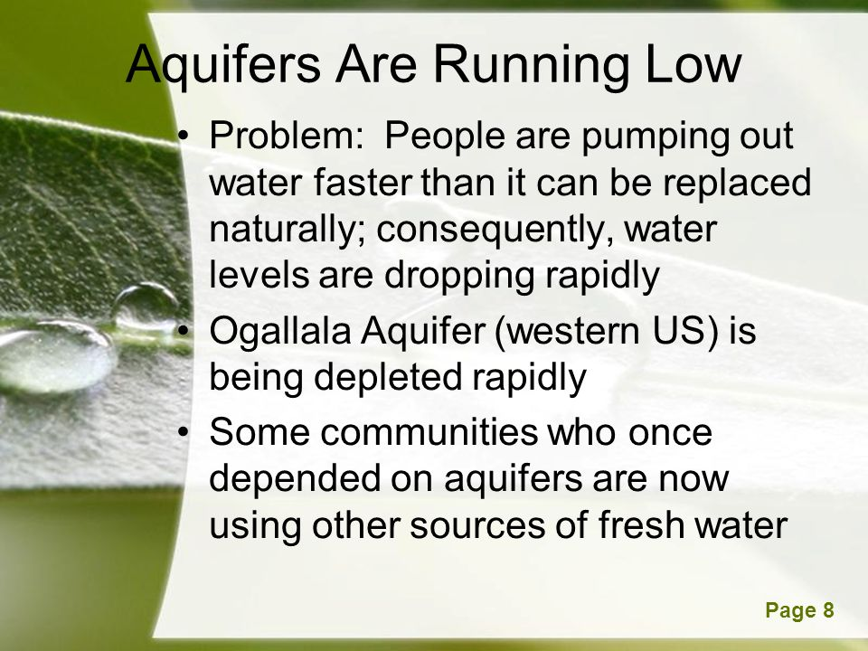 Aquifers Are Running Low