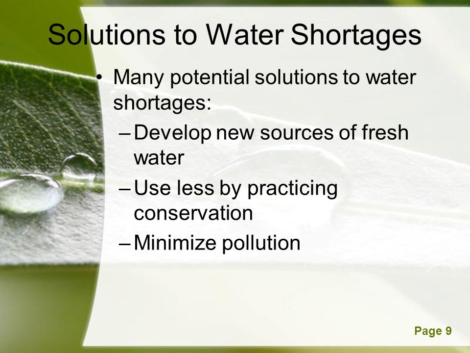 Solutions to Water Shortages