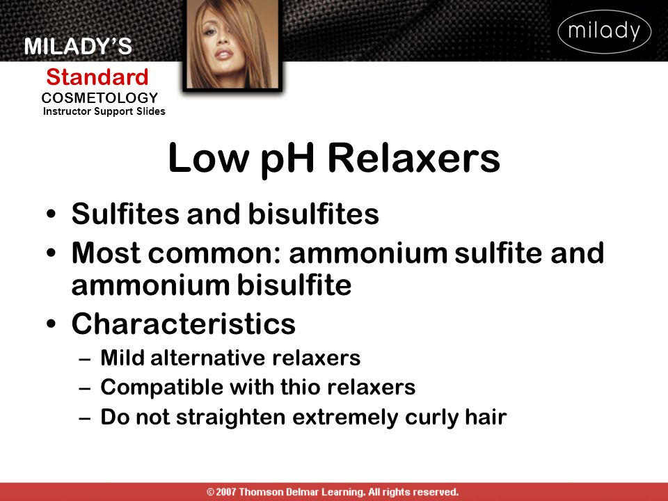 Low pH Relaxers Sulfites and bisulfites