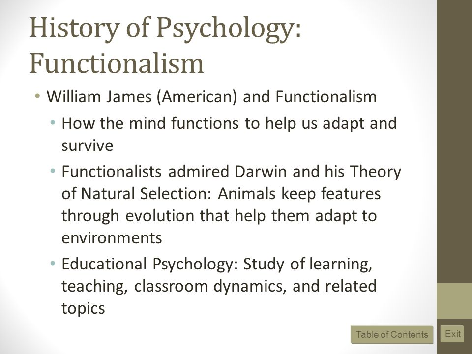 History of Psychology: Functionalism