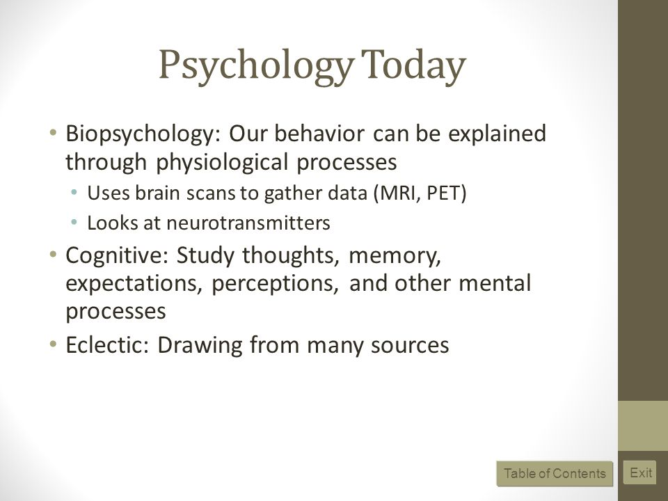 Psychology Today Biopsychology: Our behavior can be explained through physiological processes. Uses brain scans to gather data (MRI, PET)