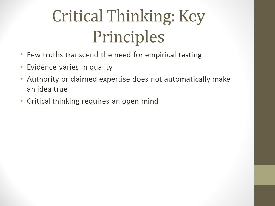 Critical Thinking: Key Principles