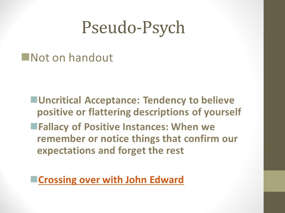 Pseudo-Psych Not on handout