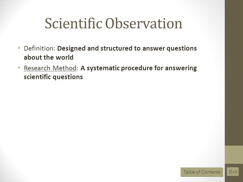 Scientific Observation