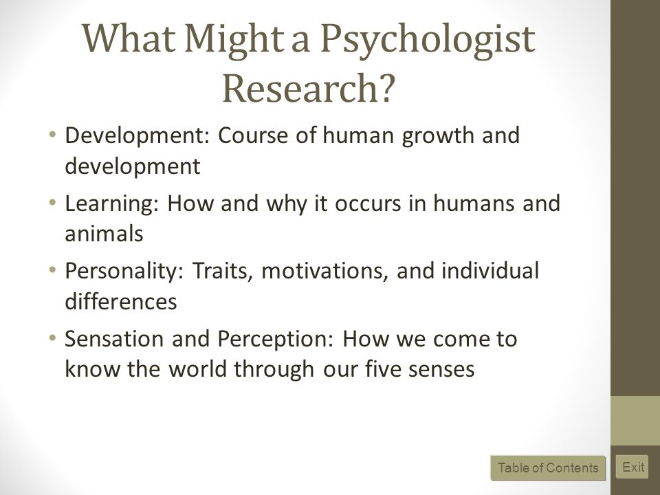 What Might a Psychologist Research