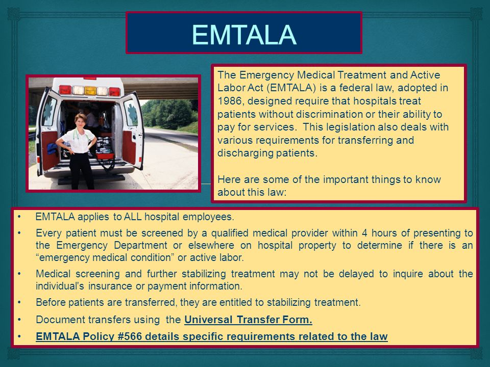 """the importance of guatemalas emtala act Medical treatment and active labor act (""""emtala"""") in 19862 emtala  back  to their home country (eg mexico, honduras, or guatemala) with the tacit  but  undocumented immigrants are excluded from the benefits of the."""