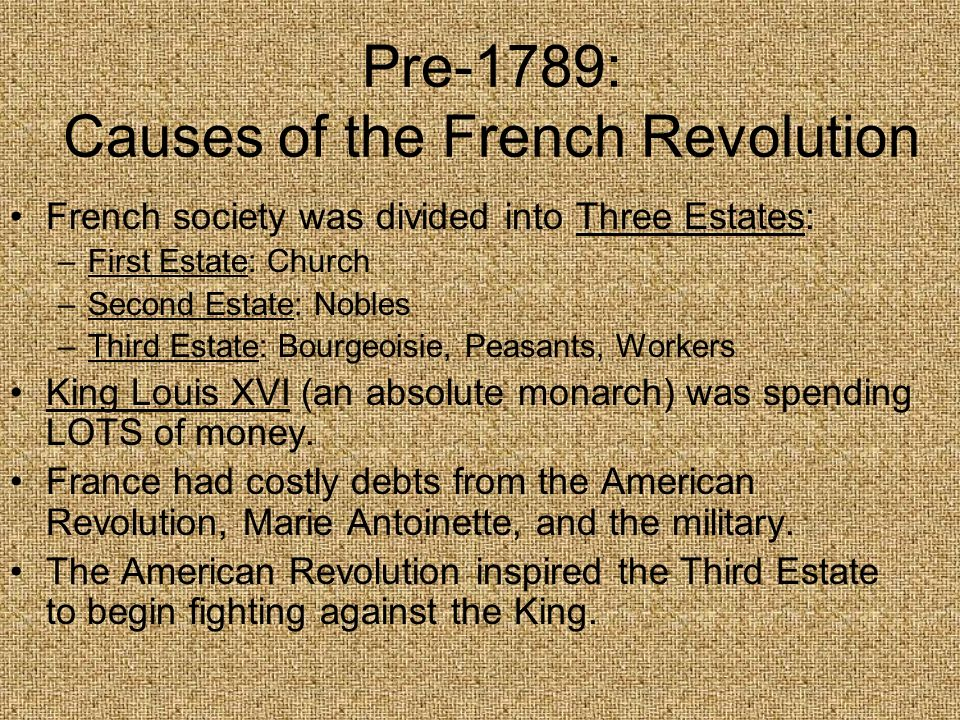Pre-1789: Causes of the French Revolution