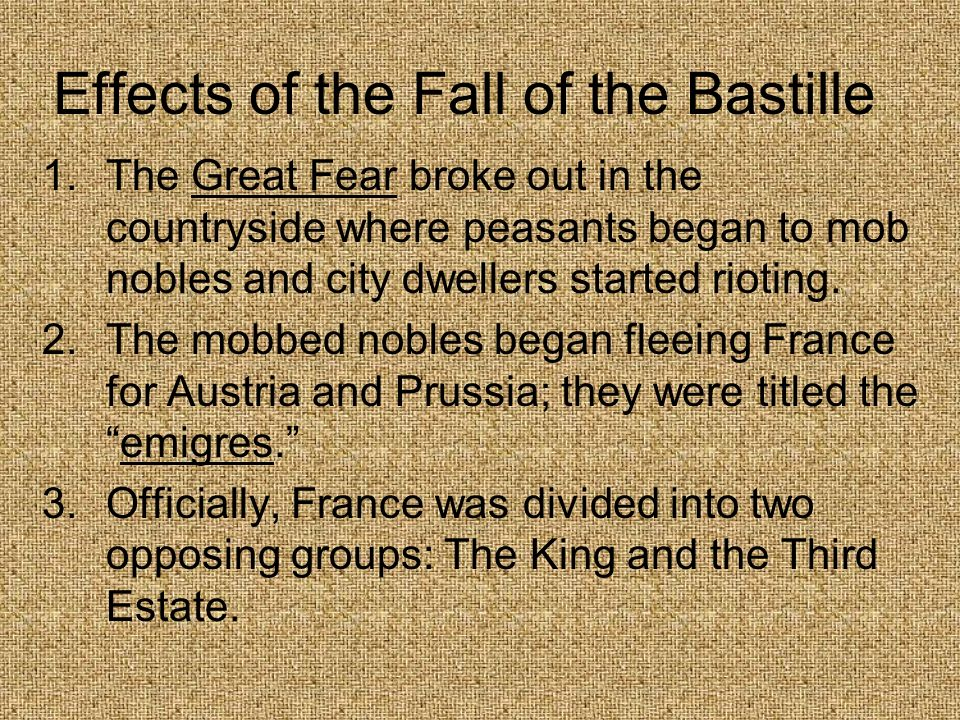 Effects of the Fall of the Bastille