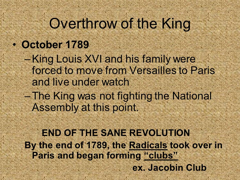 Overthrow of the King October 1789