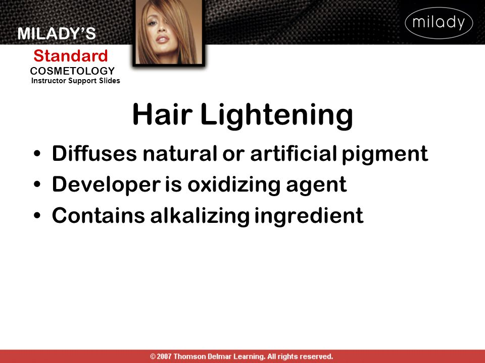 Hair Lightening Diffuses natural or artificial pigment