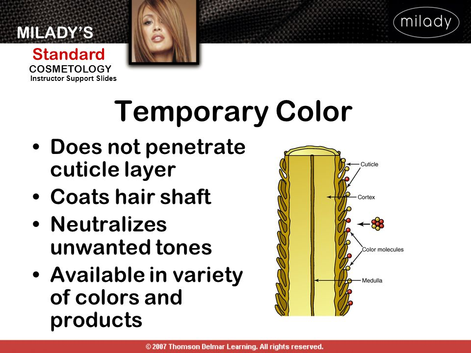 Temporary Color Does not penetrate cuticle layer Coats hair shaft