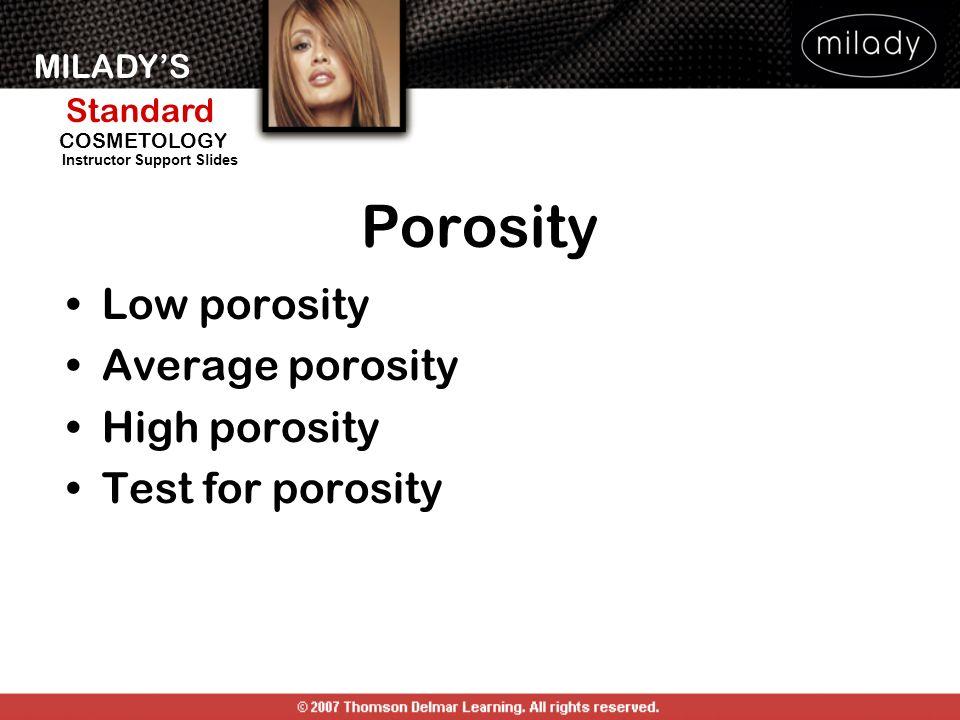Porosity Low porosity Average porosity High porosity Test for porosity