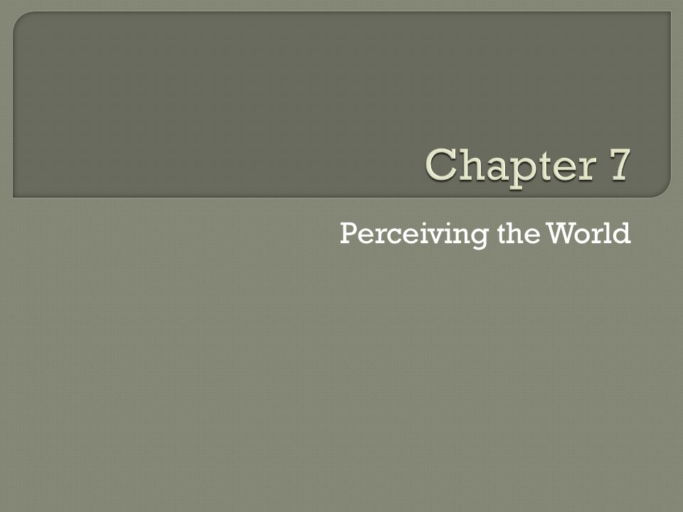 Chapter 7 Perceiving the World