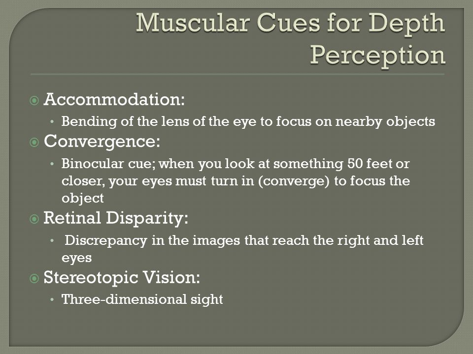 Muscular Cues for Depth Perception