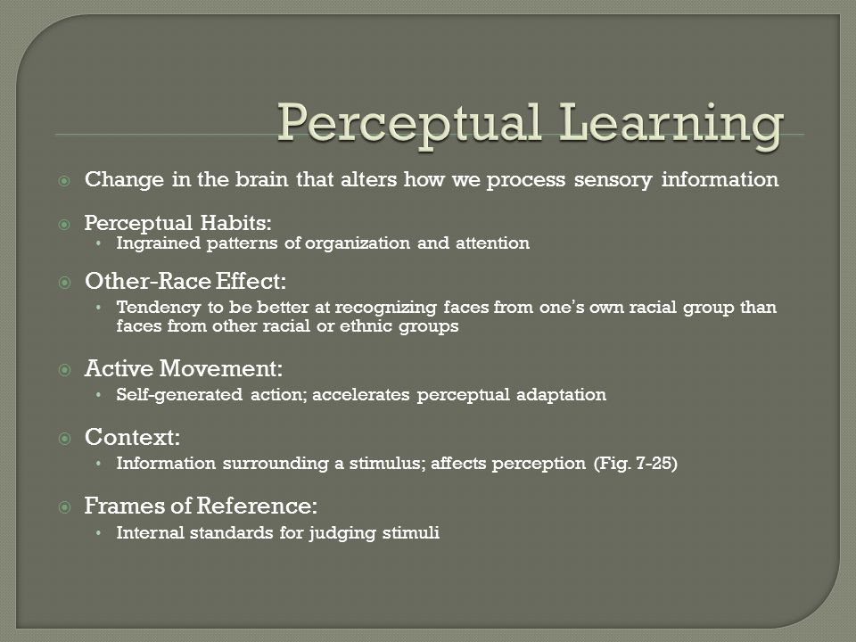 Perceptual Learning Other-Race Effect: Active Movement: Context: