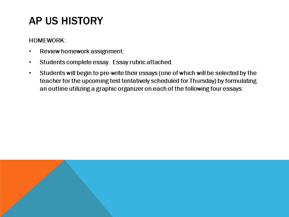 possible ap us history essay questions Advanced placement united states history is a course and examination offered  by college  each thematic essay question on the ap exam may address any  one of four possible historical thinking skills: patterns of continuity and change  over time, comparison, causation, or periodization both of the essay questions  will.