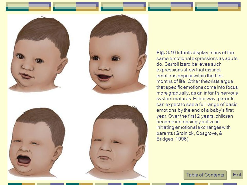 Fig Infants display many of the same emotional expressions as adults do. Carroll Izard believes such expressions show that distinct emotions appear within the first months of life. Other theorists argue that specific emotions come into focus more gradually, as an infant's nervous system matures. Either way, parents can expect to see a full range of basic emotions by the end of a baby's first year. Over the first 2 years, children become increasingly active in initiating emotional exchanges with parents (Grolnick, Cosgrove, & Bridges, 1996).