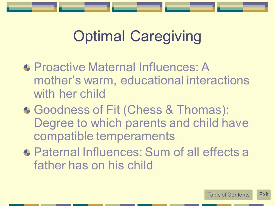 Optimal Caregiving Proactive Maternal Influences: A mother's warm, educational interactions with her child.