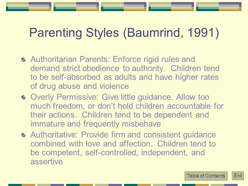 Parenting Styles (Baumrind, 1991)