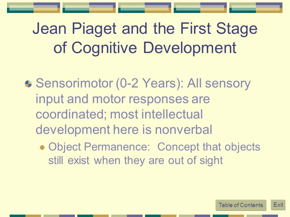 Jean Piaget and the First Stage of Cognitive Development