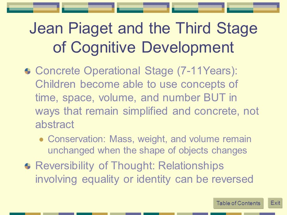 Jean Piaget and the Third Stage of Cognitive Development