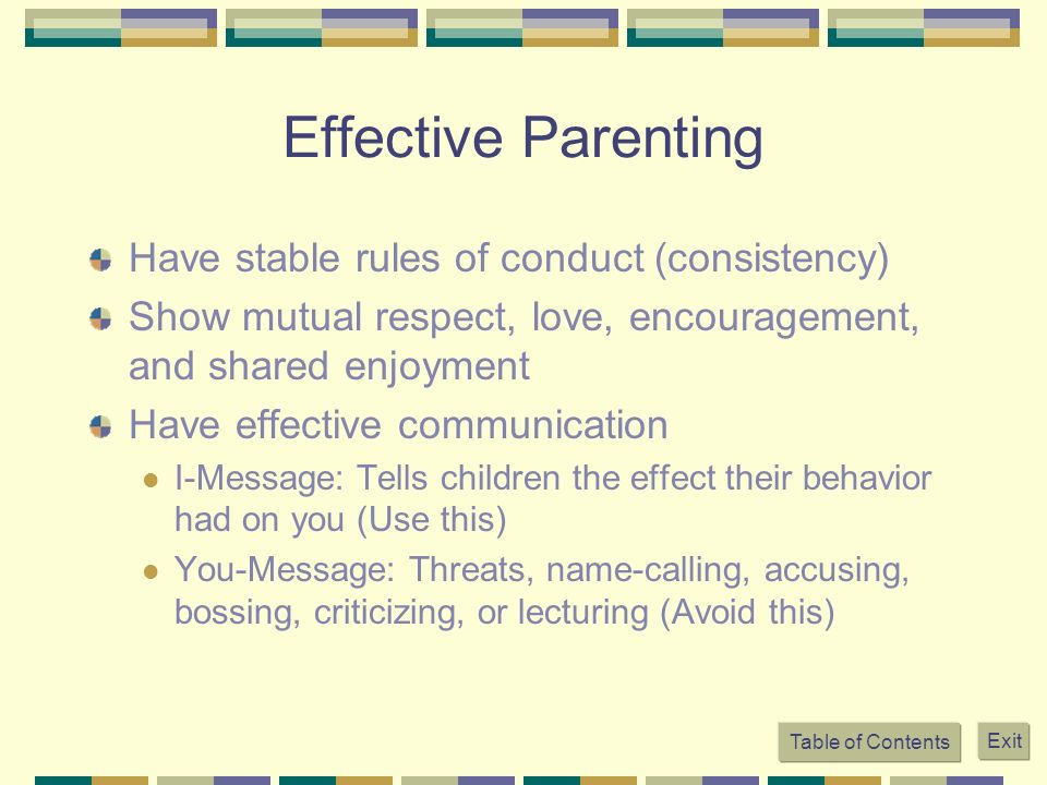 Effective Parenting Have stable rules of conduct (consistency)