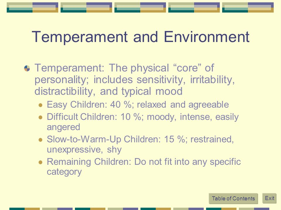 Temperament and Environment