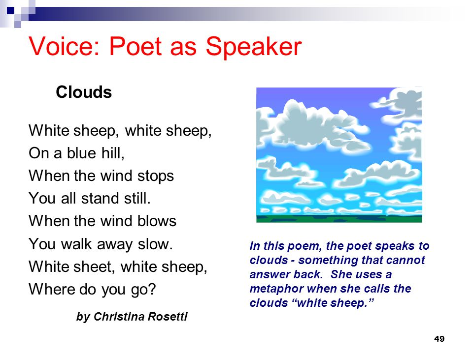 Voice: Poet as Speaker Clouds White sheep, white sheep,