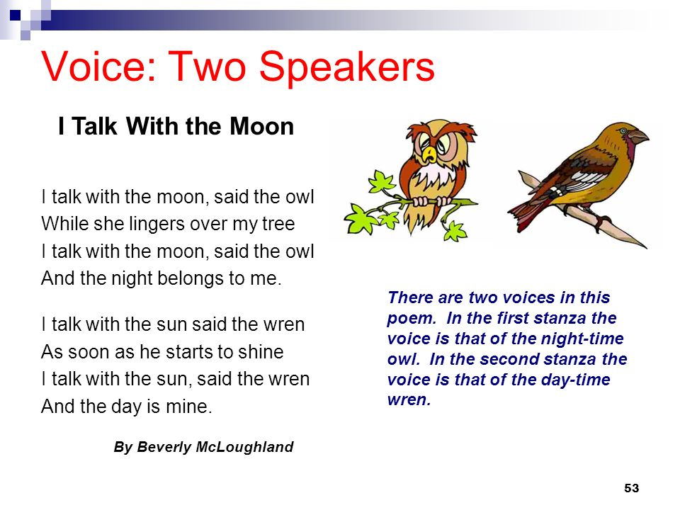 Voice: Two Speakers I Talk With the Moon