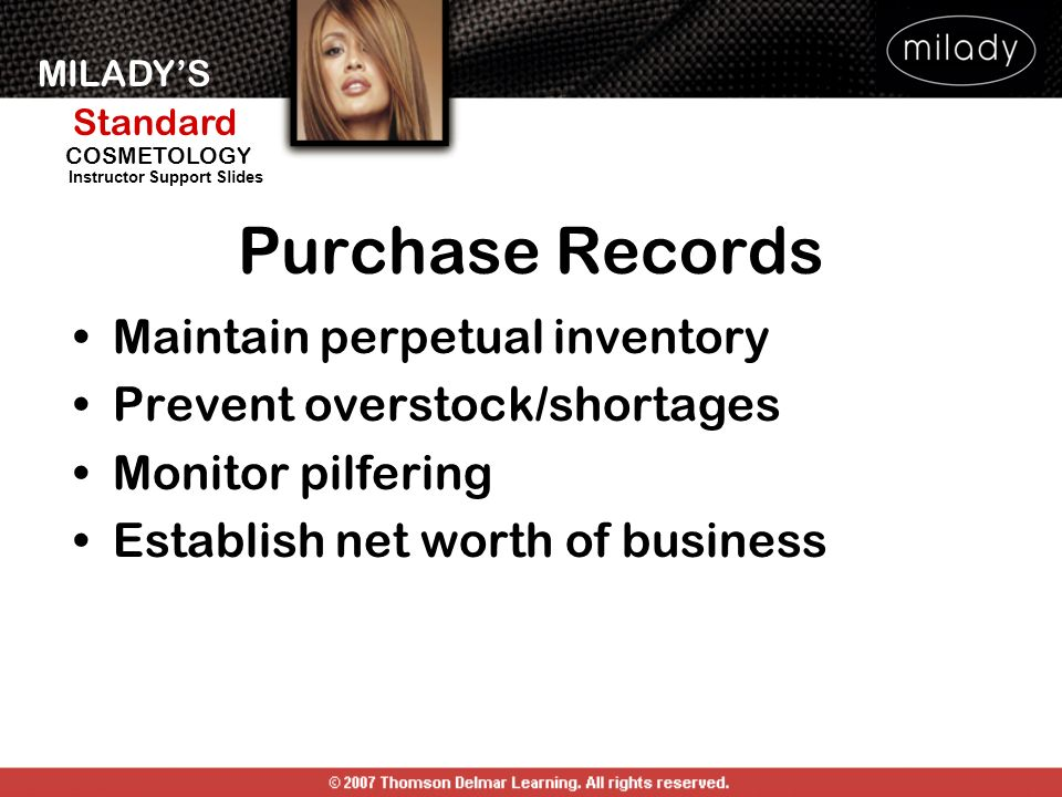 Purchase Records Maintain perpetual inventory