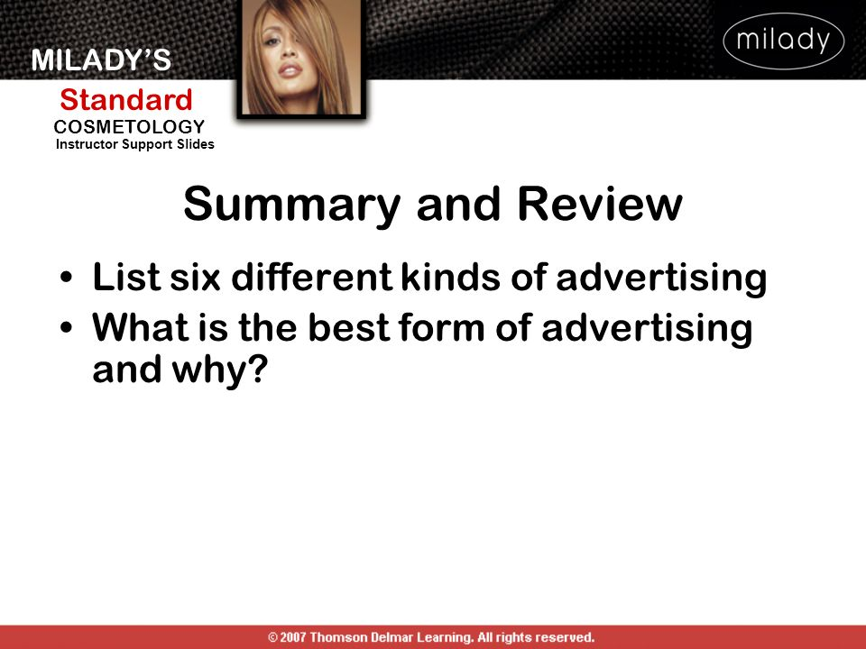 Summary and Review List six different kinds of advertising