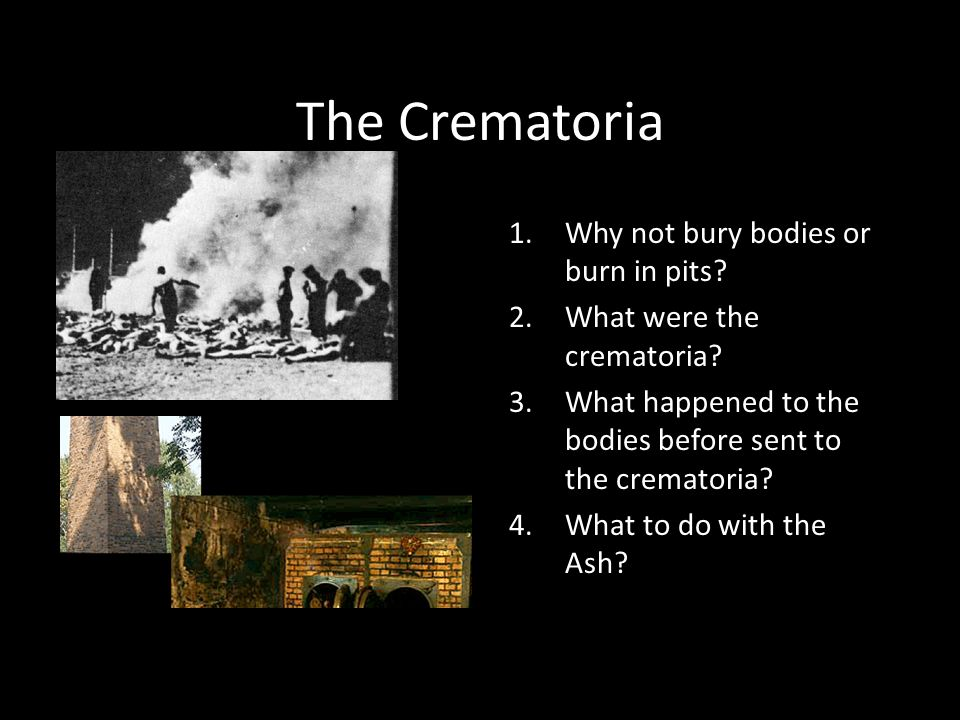 The Crematoria Why not bury bodies or burn in pits