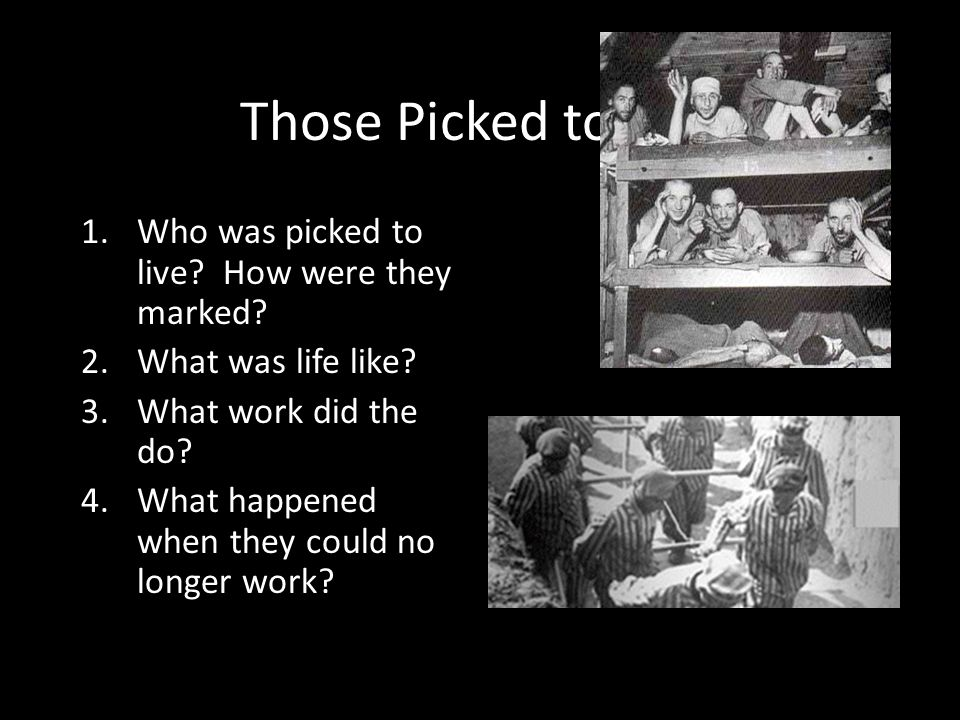 Those Picked to Live Who was picked to live How were they marked