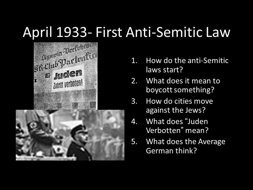April 1933- First Anti-Semitic Law