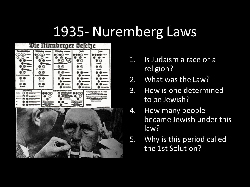 1935- Nuremberg Laws Is Judaism a race or a religion