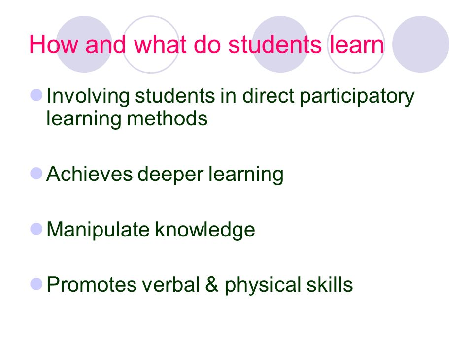 How and what do students learn
