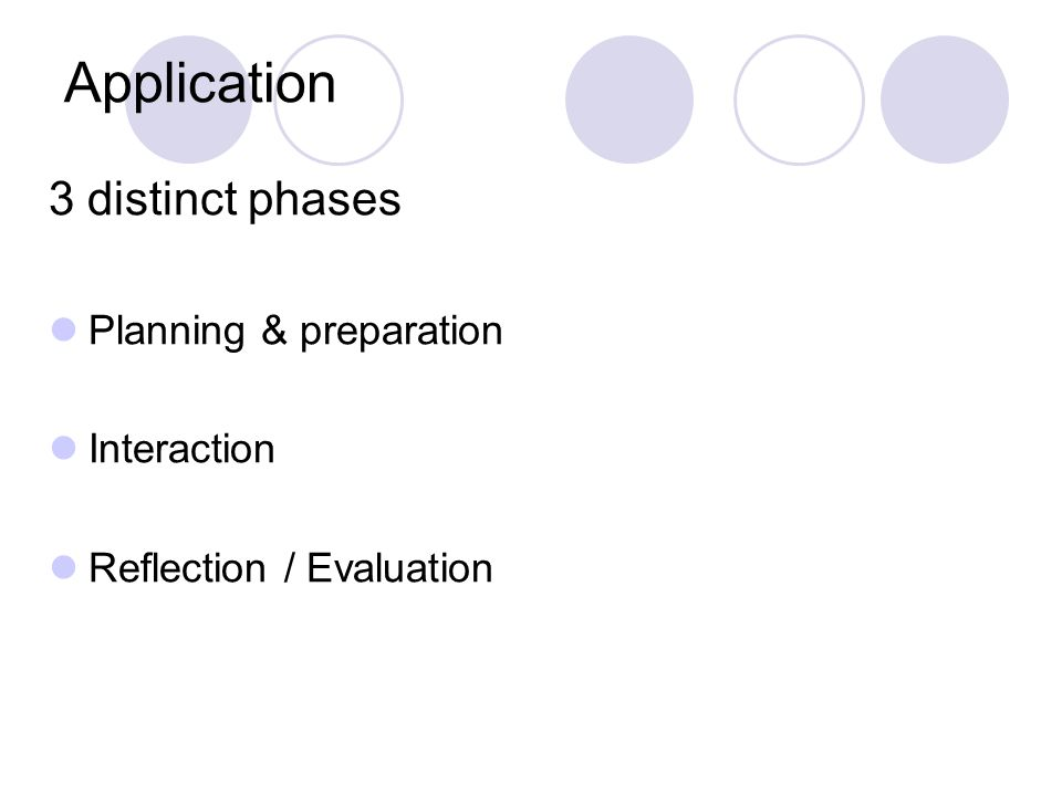 Application 3 distinct phases Planning & preparation Interaction