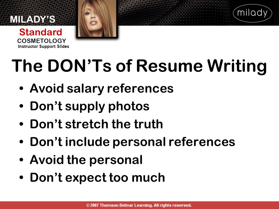 The DON'Ts of Resume Writing