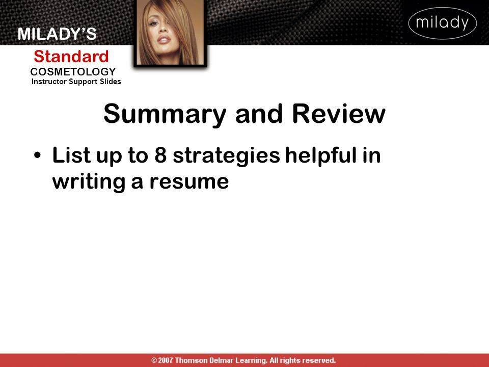 Summary and Review List up to 8 strategies helpful in writing a resume