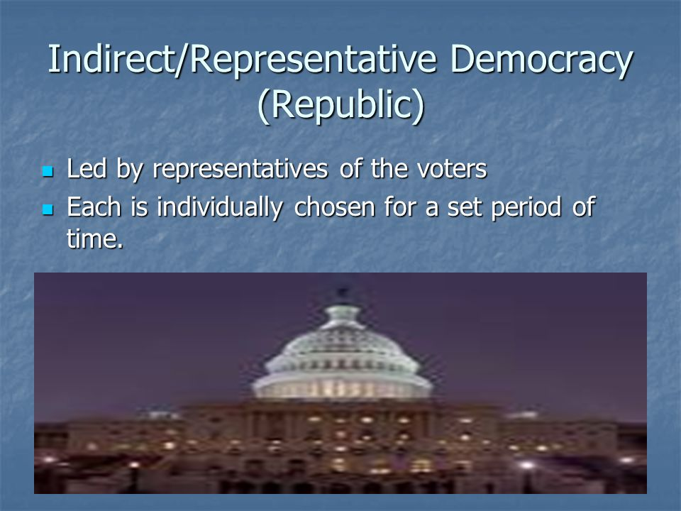 Indirect/Representative Democracy (Republic)
